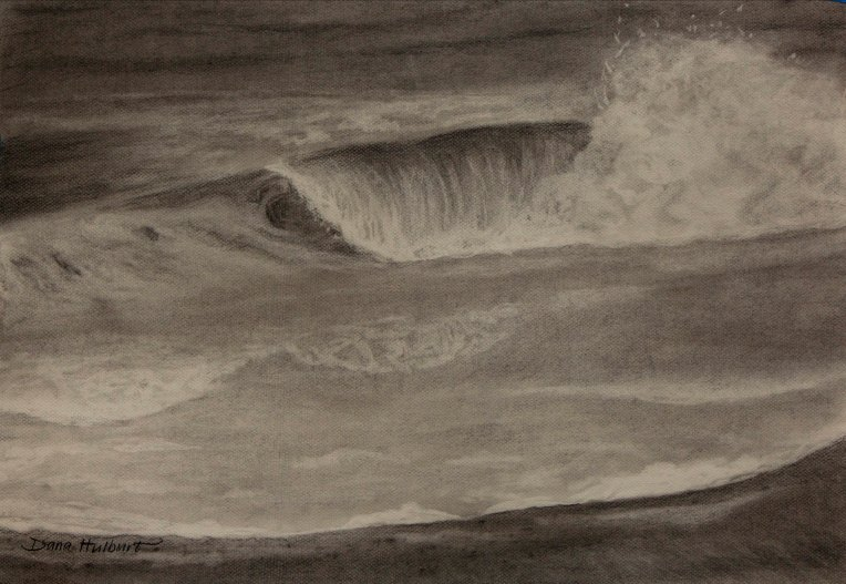 "Shore Break, Charcoal on Canson Mi-Teintes 18""x 24"""